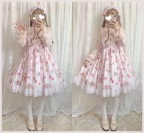 Dress Autumn of 2019 Picture color S,M,L longuette singleton  Sleeveless Sweet Crew neck High waist Cartoon animation Socket Princess Dress routine camisole Chiffon cotton Lolita