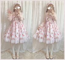 Dress Autumn of 2019 Picture color S,M,L longuette singleton  Sleeveless Sweet Crew neck High waist Cartoon animation Socket Princess Dress routine camisole Chiffon cotton Lolita
