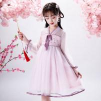 Hanfu other 3, 4, 5, 6, 7, 8, 9, 10, 11, 12, 13, 14, 14 and above Chiffon princess female Light purple, light blue GULULU 110,120,130,140,150,160