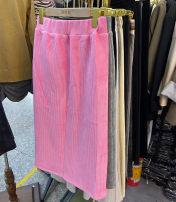 skirt Winter 2020 Average size Black, grey, pink Middle-skirt commute High waist High waist skirt lattice Han Xiaoshu
