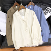 shirt Blue, green, apricot Average size Autumn 2020 polyester fiber 31% (inclusive) - 50% (inclusive) Long sleeves commute Regular tailored collar Single row two buttons routine Solid color Simplicity