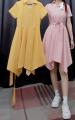 Dress Summer 2021 Pink, yellow open line, yellow less belt ear M,XL OC3026055