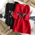 Dress Spring 2021 Dark grey, black, red, black stain, red stain Average size Short skirt singleton  Long sleeves commute Korean version 51% (inclusive) - 70% (inclusive) polyester fiber