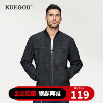 Jacket Kuegou / cool clothes Fashion City black M/170 L/175 XL/180 XXL/185 routine standard Other leisure winter UW- 08223 Polyester 100% Long sleeves Wear out Baseball collar Simplicity in Europe and America youth routine Zipper placket Rib hem washing Closing sleeve Solid color Winter of 2019 other