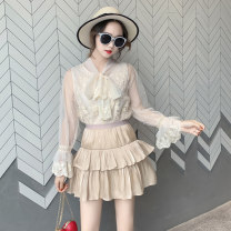 Fashion suit Spring of 2019 Average size Apricot lace shirt 93003 white lace shirt 93003 black skirt 91001 apricot skirt 91001 black skirt 91004 My son Qi Polyester 100% Pure e-commerce (online only)