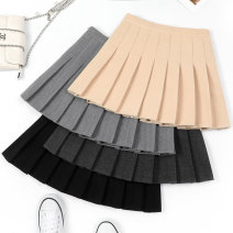 skirt Winter of 2019 XS S M L XL 2XL 3XL Khaki light grey dark grey black Short skirt Versatile High waist Pleated skirt lattice Type A My son Qi Pure e-commerce (online only)