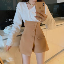 skirt Winter 2020 S M L Co1060 tweed coffee color co1060 tweed black co0952pu coffee color co0952pu black Short skirt Versatile High waist Irregular Solid color Type A CO1060 91% (inclusive) - 95% (inclusive) My son Qi polyester fiber Polyester 95% polyurethane elastic fiber (spandex) 5%
