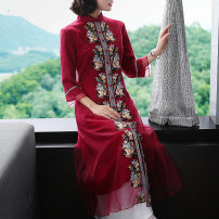 cheongsam Spring 2020 XXL,S,M,L,XL Blue, red three quarter sleeve long cheongsam Retro Low slit daily Straight front Decor Embroidery