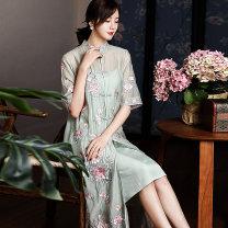 cheongsam Spring 2020 XXL,S,M,L,XL Green, pink Short sleeve long cheongsam Retro Low slit daily Straight front Decor Embroidery