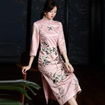 cheongsam Spring 2020 XXL,S,M,L,XL Green, pink three quarter sleeve long cheongsam Retro Low slit daily Oblique lapel Decor Embroidery