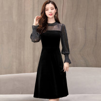Dress Winter of 2018 Black jujube M L XL XXL Mid length dress singleton  Long sleeves commute Crew neck middle-waisted Solid color Socket other bishop sleeve 25-29 years old Type A Meng Jia Xian Yi Korean version Pleated and cut out stitching MJQY18D8939 More than 95% polyester fiber Polyester 100%