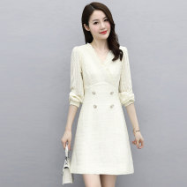 Dress Spring 2021 Black Beige M L XL XXL Mid length dress singleton  Long sleeves commute V-neck middle-waisted Solid color Socket A-line skirt routine Others 25-29 years old Type A Meng Jia Xian Yi Ol style Pleated button More than 95% polyester fiber Polyester 100% Pure e-commerce (online only)