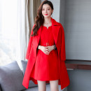 Dress / evening wear Weddings, adulthood parties, company annual meetings, daily appointments M L XL XXL Big red Camel Korean version Medium length middle-waisted Winter of 2018 A-line skirt U-neck zipper 18-25 years old MJQY18DA0071 Long sleeves Solid color Meng Jia Xian Yi routine Polyester 100%