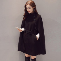 woolen coat Winter of 2018 XXS XS S M L XL Black black (with cotton) Caramel Caramel (with cotton) polyester 95% and above Medium length commute Single breasted Bat sleeve stand collar Solid color Cape type Korean version MJQY18D699 Meng Jia Xian Yi belt Solid color Polyester 100%