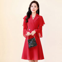 Dress / evening wear Weddings, adulthood parties, company annual meetings, daily appointments M L XL XXL XXXL Red Navy Blue Korean version Medium length middle-waisted Autumn 2020 A-line skirt Deep collar V 26-35 years old MJQY20X-0725-04 Long sleeves Solid color Meng Jia Xian Yi routine