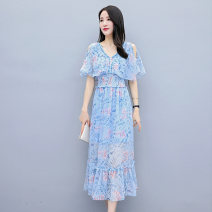 Dress Summer 2021 Blue flowers green flowers M L XL XXL Mid length dress singleton  Short sleeve Sweet V-neck Elastic waist Decor Socket Big swing Flying sleeve Others 25-29 years old Type X Meng Jia Xian Yi Pleated printing MJQY21X - 0329 - 07 More than 95% Chiffon polyester fiber Polyester 100%