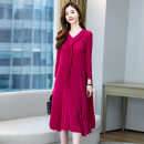 Dress / evening wear Weddings, adulthood parties, company annual meetings, daily appointments Average size Black Rose fashion Medium length middle-waisted Spring 2021 other U-neck 36 and above MJQY21X - 0317 - fourteen Nine point sleeve Solid color Meng Jia Xian Yi routine Polyester 100%