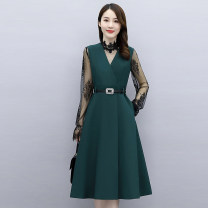Dress Autumn 2020 Black orange green M L XL XXL XXXL Mid length dress singleton  Long sleeves commute V-neck middle-waisted Solid color Socket A-line skirt routine Others 25-29 years old Type A Meng Jia Xian Yi Korean version Pleated lace up stitching MJQY20X-0821-10 More than 95% other
