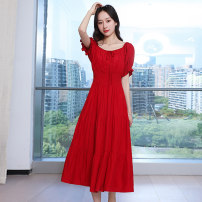 Dress / evening wear Weddings, adulthood parties, company annual meetings, daily appointments S M L Red purple fashion Medium length Elastic waist Summer 2020 A-line skirt One shoulder 18-25 years old MJQY20X-0601-01 Short sleeve Solid color Meng Jia Xian Yi routine Polyester 100%