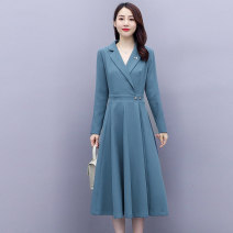 Dress Autumn 2020 Black blue M L XL XXL Mid length dress singleton  Long sleeves commute tailored collar middle-waisted Solid color double-breasted A-line skirt routine 30-34 years old Meng Jia Xian Yi Korean version Three dimensional decoration More than 95% polyester fiber Polyester 100%