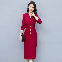 Dress / evening wear Weddings, adulthood parties, company annual meetings, daily appointments S M L XL XXL XXXL Red and black fashion Medium length middle-waisted Spring 2021 Self cultivation Deep collar V zipper 36 and above MJQY21X-0311-03 Long sleeves Solid color Meng Jia Xian Yi routine
