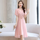 Dress Summer 2020 White Black Pink oil green M L XL XXL Mid length dress Fake two pieces Short sleeve commute tailored collar middle-waisted Solid color Socket A-line skirt routine Others 25-29 years old Type A Meng Jia Xian Yi Ol style Pleated lace up button MJQY20X-0420-05 More than 95% Chiffon