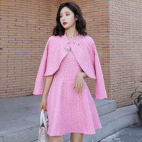 Dress Autumn of 2019 White pink M L XL XXL XXXL Mid length dress Two piece set Long sleeves commute Crew neck middle-waisted Solid color zipper A-line skirt routine 25-29 years old Meng Jia Xian Yi Korean version More than 95% polyester fiber Polyester 100% Pure e-commerce (online only)