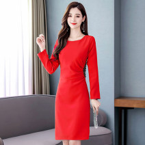 Dress / evening wear Weddings, adulthood parties, company annual meetings, daily appointments M L XL XXL XXXL Korean version Medium length middle-waisted Autumn of 2019 Self cultivation Long sleeves Solid color Meng Jia Xian Yi routine Polyester 100% Pure e-commerce (online only)