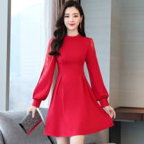 Dress / evening wear Weddings, adulthood parties, company annual meetings, daily appointments M L XL XXL Black red Sweet Middle-skirt middle-waisted Autumn of 2019 A-line skirt MJQY19Q913 Long sleeves Solid color Meng Jia Xian Yi routine Polyester 100% Pure e-commerce (online only)