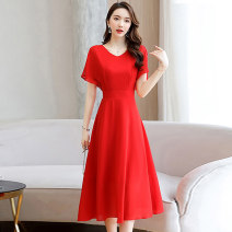 Dress / evening wear Weddings, adulthood parties, company annual meetings, daily appointments M L XL XXL XXXL Black big red lake blue Korean version Medium length middle-waisted Summer 2020 A-line skirt U-neck zipper 18-25 years old Short sleeve Solid color Meng Jia Xian Yi routine Polyester 100%