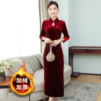 Dress / evening wear Weddings, adulthood parties, company annual meetings, daily appointments M L XL XXL XXXL claret grace longuette middle-waisted Winter 2020 Self cultivation MJQY20X-1203-04 Long sleeves Solid color Meng Jia Xian Yi routine Polyester 100% Exclusive payment of tmall