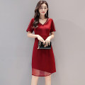 Dress / evening wear Weddings, adulthood parties, company annual meetings, daily appointments S M L XL XXL XXXL Korean version Medium length middle-waisted Summer of 2019 A-line skirt Deep V style Short sleeve Solid color Meng Jia Xian Yi routine Polyester 100% Pure e-commerce (online only)