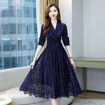 Dress / evening wear Weddings, adulthood parties, company annual meetings, daily appointments Average size navy blue fashion Medium length middle-waisted Summer 2021 Self cultivation Deep collar V Bandage 26-35 years old MJQY21X-0317-13 elbow sleeve Dot Meng Jia Xian Yi routine Polyester 100%