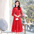 Dress / evening wear Weddings, adulthood parties, company annual meetings, daily appointments M L XL XXL XXXL Black red blue fashion Medium length middle-waisted Spring 2021 A-line skirt U-neck Hollowing out MJQY21X-0113-11 Long sleeves Solid color Meng Jia Xian Yi routine Polyester 100%