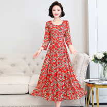 Dress / evening wear Weddings, adulthood parties, company annual meetings, daily appointments M L XL XXL XXXL Red green grey fashion Medium length middle-waisted Autumn 2020 A-line skirt 36 and above MJQY20X-0806-01 Long sleeves Solid color Meng Jia Xian Yi routine Polyester 100%