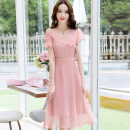 Dress / evening wear Weddings, adulthood parties, company annual meetings, daily appointments M L XL XXL XXXL Black blue purple Beige Pink Korean version Medium length middle-waisted Summer of 2019 A-line skirt zipper MJQY19X6016 Short sleeve Solid color Meng Jia Xian Yi Polyester 100%