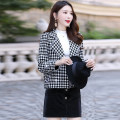 woolen coat Winter of 2019 M L XL XXL XXXL Red and white, black and white, Mibai polyester 95% and above have cash less than that is registered in the accounts Long sleeves commute double-breasted routine tailored collar lattice Self cultivation Korean version MJQY19Q6019 Meng Jia Xian Yi Button 3D
