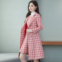 Dress Winter of 2019 Pink, green, red, black M L XL XXL Mid length dress Two piece set Long sleeves commute High waist lattice double-breasted routine 25-29 years old Type H Meng Jia Xian Yi Korean version Pleated pocket button MJQY19D2076 More than 95% polyester fiber Polyester 100%