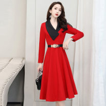 Dress / evening wear Weddings, adulthood parties, company annual meetings, daily appointments M L XL XXL XXXL Red and black Korean version Medium length middle-waisted Autumn 2020 A-line skirt Deep collar V 18-25 years old MJQY20X-0801-03 Long sleeves Solid color Meng Jia Xian Yi routine