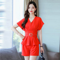 Dress / evening wear Weddings, adulthood parties, company annual meetings, daily appointments M L XL XXL Purple Black Big Red Lake Green Korean version Short skirt middle-waisted Summer 2020 other U-neck 18-25 years old MJQY20X-0430-02 Short sleeve Solid color Meng Jia Xian Yi routine Polyester 100%
