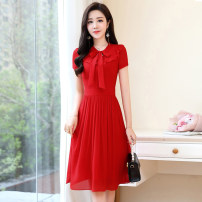 Dress / evening wear Weddings, adulthood parties, company annual meetings, daily appointments M L XL XXL XXXL Sweet Medium length middle-waisted Summer 2020 Self cultivation U-neck zipper 18-25 years old Short sleeve Solid color Meng Jia Xian Yi routine Polyester 100% Pure e-commerce (online only)