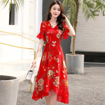 Dress / evening wear Weddings, adulthood parties, company annual meetings, daily appointments M L XL XXL XXXL Yellow flower red flower black bottom yellow flower white flower black bottom red flower Korean version Medium length middle-waisted Summer of 2019 A-line skirt Deep collar V MJQY19X8003