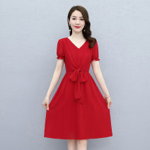 Dress / evening wear Weddings, adulthood parties, company annual meetings, daily appointments M L XL XXL XXXL Red and black fashion Medium length middle-waisted Summer 2021 A-line skirt Deep collar V zipper MJQY21X-0401-08 Short sleeve Solid color Meng Jia Xian Yi puff sleeve Polyester 100%