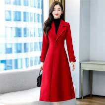 Dress / evening wear Weddings, adulthood parties, company annual meetings, daily appointments S M L XL XXL XXXL Black red Korean version Medium length middle-waisted Autumn 2020 other 26-35 years old MJQY20X-0919-11 Long sleeves Solid color Meng Jia Xian Yi routine Polyester 100%