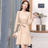 Dress Spring 2020 M L XL XXL Mid length dress singleton  Long sleeves commute middle-waisted Solid color zipper routine 30-34 years old Meng Jia Xian Yi Korean version More than 95% polyester fiber Polyester 100% Pure e-commerce (online only)