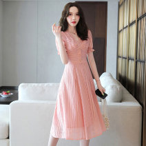 Dress Summer 2021 White pink M L XL XXL Mid length dress singleton  Short sleeve commute V-neck middle-waisted Solid color Socket A-line skirt routine 25-29 years old Type X Meng Jia Xian Yi Retro Pleated stitching MJQY21X - 0319 - 04 More than 95% Lace polyester fiber Polyester 100%