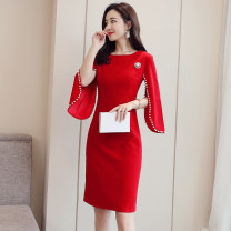 Dress / evening wear Weddings, adulthood parties, company annual meetings, daily appointments S M L XL XXL XXXL XXXXL XXXXXL Black, scarlet Korean version Medium length middle-waisted Spring of 2019 A-line skirt U-neck zipper 26-35 years old MJQY19C366 Long sleeves Nail bead Solid color Flying sleeve