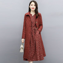 Dress Winter 2020 Green Navy Caramel M L XL XXL Mid length dress Two piece set Long sleeves commute stand collar middle-waisted Solid color Single breasted Big swing routine 35-39 years old Meng Jia Xian Yi Korean version pocket MJQY20X-1016-11 More than 95% polyester fiber Polyester 100%