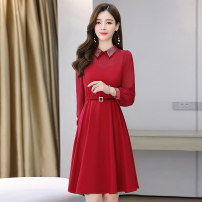 Dress / evening wear Weddings, adulthood parties, company annual meetings, daily appointments M L XL XXL XXXL Black red Sweet Medium length middle-waisted Autumn 2020 A-line skirt Bandage 18-25 years old MJQY20X-0822-07 Long sleeves Solid color Meng Jia Xian Yi routine Polyester 100%