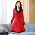 Dress / evening wear Weddings, adulthood parties, company annual meetings, daily appointments M L XL XXL Korean version Medium length middle-waisted Winter 2020 Self cultivation Long sleeves Solid color Meng Jia Xian Yi routine Polyester 100% Exclusive payment of tmall
